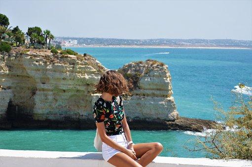 Sea, Ocean, Girl, Water, Nature, Blue, Summer, Wave