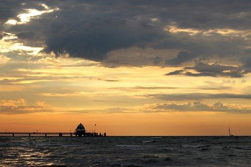 Sea Bridge, Baltic Sea, Grömitz, Sea, Sunrise