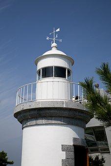 Lighthouse, Island, Korea, Sea, Light, Arm Also, White