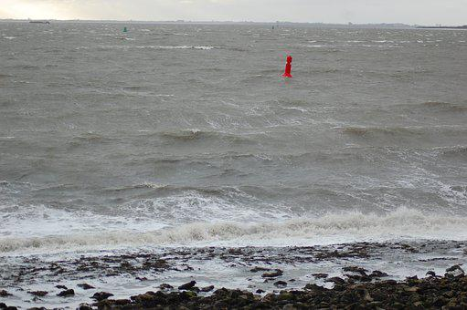 Storm, Waves, Westerschelde, Ferocious, Water, Buoy