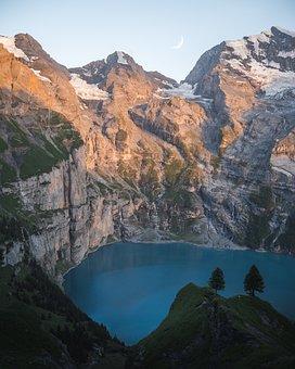 Lake, Mountain Lake, Sunset, Nature, Landscape