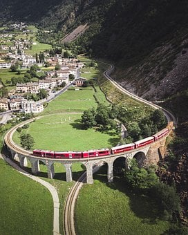 Train, Railway, Switzerland, Railroad, Viaduct