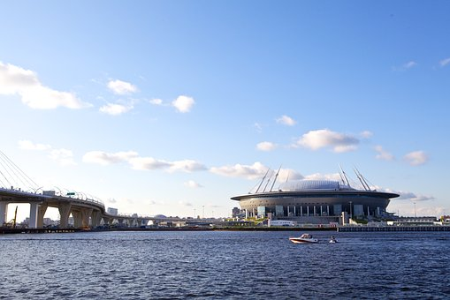 Stadium, Zenit Arena, Bridge, Water, Russia, River