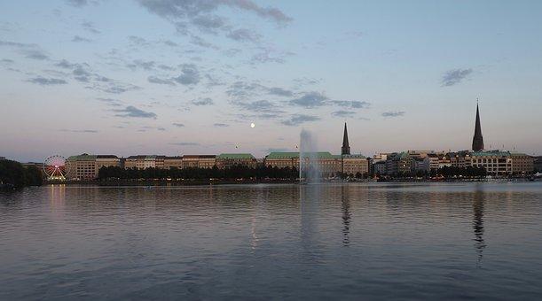 Hamburg, Alster, Water, Germany, City, Jungfernstieg