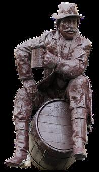 Sculpture, Beer Mug, Barrel, Advertising, Bronze Statue