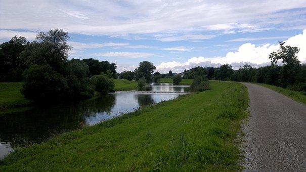 River, Bruckmühl, Mangfall, Bank, Dike, Sky, Dam, Water