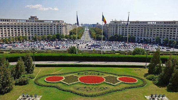 Bucharest, Romania, Square, Building, Parliament
