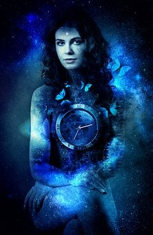 Woman, Time, Universe, Butterfly, Clock, Mystical