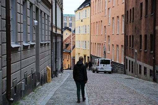 City, Alone, Cobblestone, Street, Stockholm, Södermalm