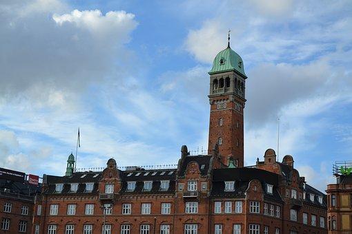 Danmark, Denmark, Copenhagen, Building, Clouds, Tower