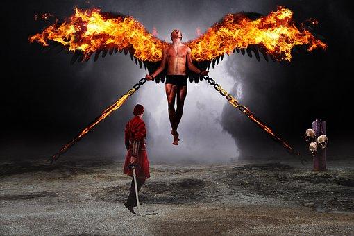 Warrior, Fallen Angel, Demon, Fire, Combat