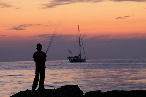 Angel, Sea, Fish, Holiday, Fischer, Beach, Coast