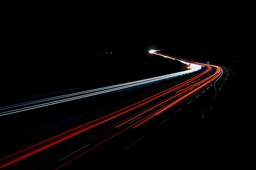 Highway, Night, Long Exposure, Spotlight, Traffic