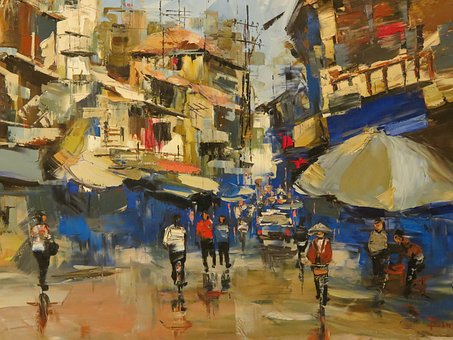 Vietnam, Hanoi, Picture, Painting, City, Oil Paint, Art
