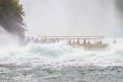 Rhine Falls, Rhine, Waterfall, Boot, River, Water Mass