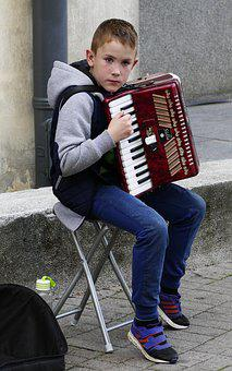 Street Music, Music, Accordion, Young People