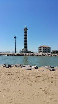 Lighthouse, Jesolo, Beach, Sea