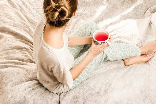 Morning Girl, Woman, Bed, Tee, Morning, Girl, Bedroom