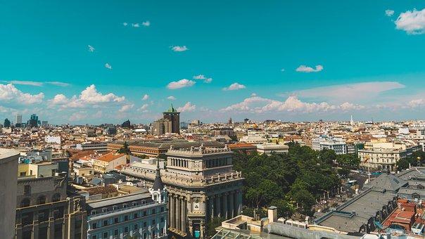 Madrid, Spain, Sunset, Architecture, City Centre, City