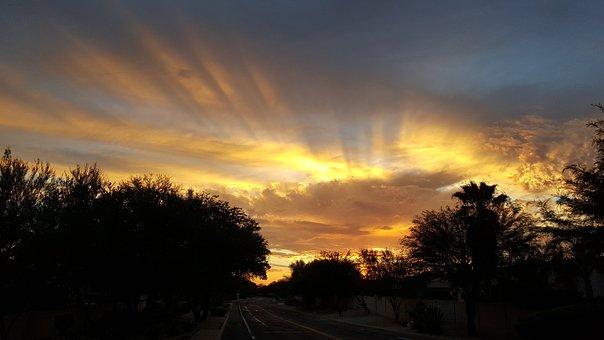 Clouds, Desert, Arizona, Sky, Landscape, Cacti