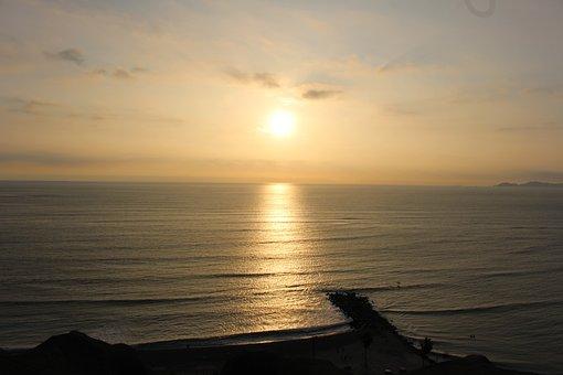 End Of Afternoon, Sol, Ocean, Landscape, Sunset