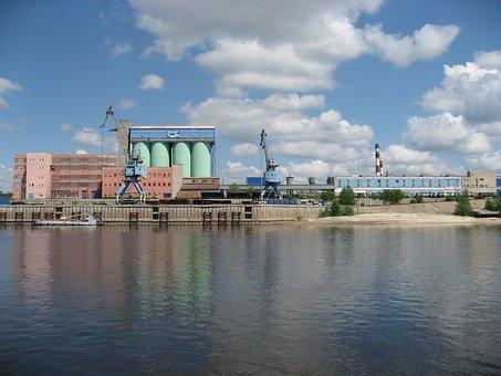 Water, Cranes, Loading, Factory, Terrain, Summer, Ship