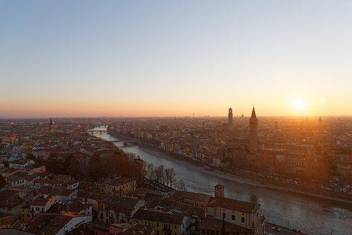 Verona, Sunset, Landscape, Italy, Architecture