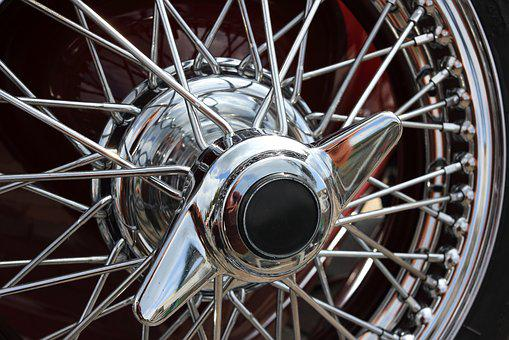 Classic, Car, Wire, Wheel, Locknut, Tire, Chrome