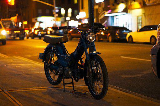 Nyc, New York City, Brooklyn, Usa, America, Moped, Puch