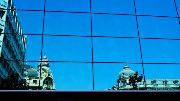 Spain, Granada, Reflection, Glass, Blue, Window
