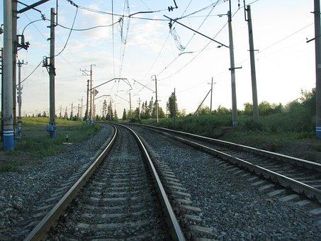 Railway, Rails, Sleepers, Pillars, Composition, The Way