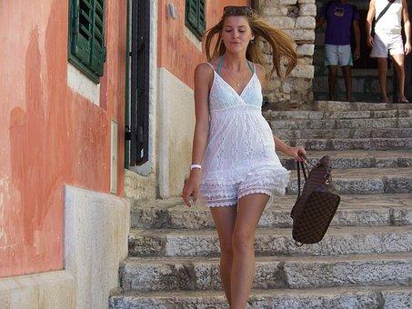 Walking Lady, White Dress, Bikini Girl, Handbag