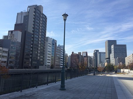 Japan, Osaka, Horikawa, Hori-river, Blue Sky, Bluesky