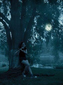 Girl, Flute, Moon, Russia, Evening, Dark, Dark Blue Sky