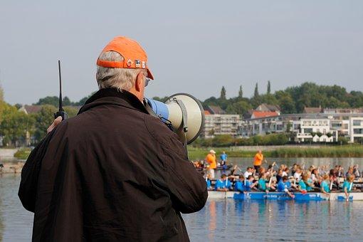 Referee, Lake, Megaphone, Speakers, Announcement
