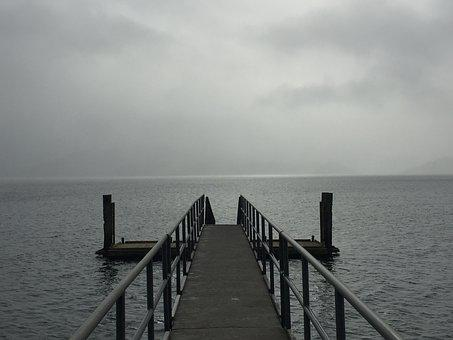Cloudy, Sea, Pontoon, Wharf, Water, Horizon, Seascape