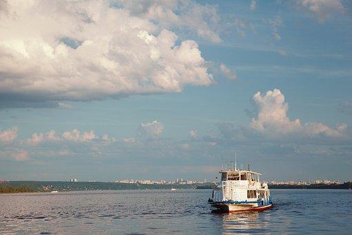 River, Sunset, Ship, Sky, Travel, Clouds, Sun