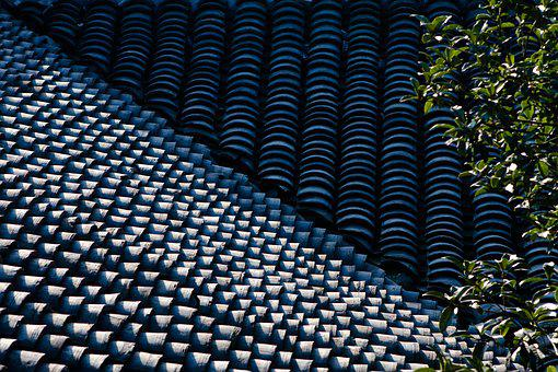 Roof, Tiles, Line, Light And Shadow