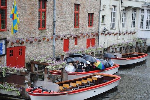 Belgium, Boats, Bruges, Channel, Rain, Umbrellas