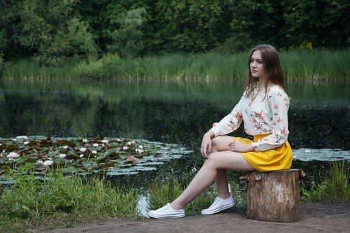 Girl, Pond, Vacation, Summer, Nature, Photoshoot