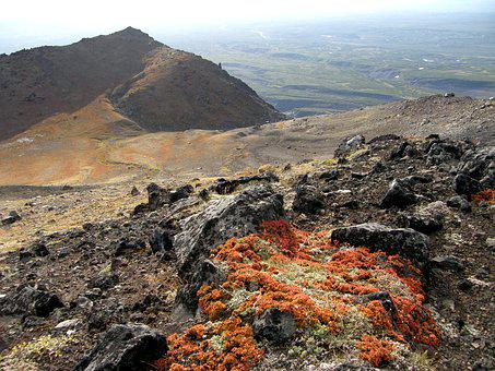 Autumn, Mountains, Volcano, The Foot, Clouds