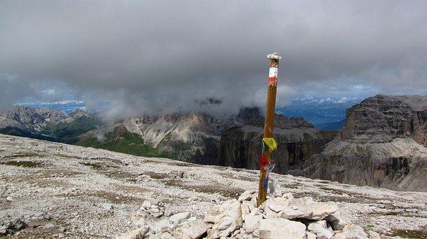 Dolomites, Sass Pordoi, Clouds, Grey, Wood Plug