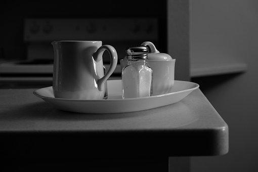 Black And White, Monochrome, Cup, Salt, Kitchen Counter