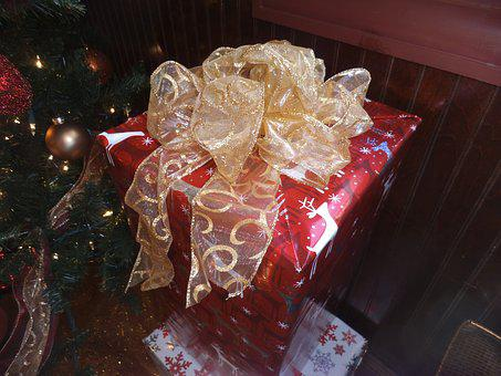 Christmas Gift, Gift Package, Ribbon, Bow, Gift Wrap
