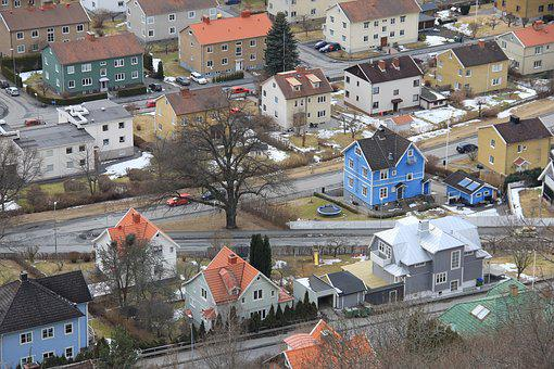 City, From Above, Overview, View, Cars, House