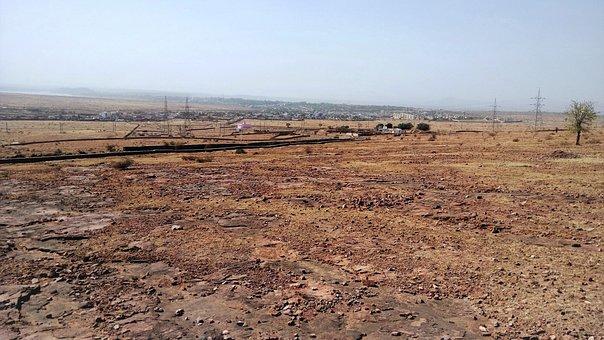 India, Desert, Barren Land, City In Background