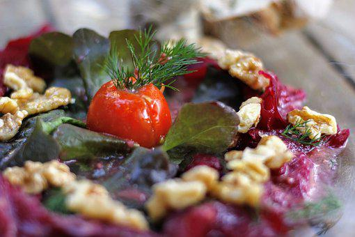 Beetroot, Salad, Nuts, Eat, Healthy, Food, Nutrition