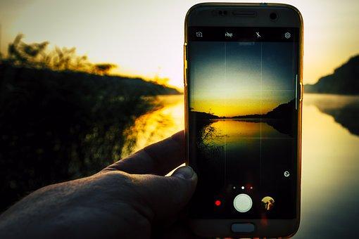 Sunrise, Smartphone, Lake, Swim, Summer, Evening Sun