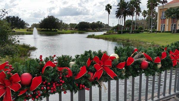 Christmas, Decorations, Bridge, Fountain, Holiday