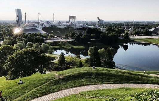 Munich, Olympic Park, Olympic Stadium, Lake